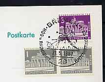 Postmark - West Berlin 1967 postcard bearing 5pfg in stamps with special cancellation for Hermann Oberth Society & Space & Air Travel Congresses, illustrated with stylised space craft