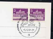 Postmark - West Berlin 1969 postcard with special cancellation for HOG 17th Rocket & Space Travel Congress illustrated with Rocket & Globe