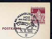 Postmark - West Berlin 1968 8pfg postal stationery card with special Hamburg cancellation for 'From Rocket Car to Moon Vehicle' Stamp Exhibition, Hamburg illustrated with Rocket Car & Moon Vehicle