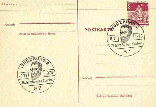Postmark - West Berlin 1970 8pfg postal stationery card with special cancellation for 75th Anniversary of R\9Antgen X-Rays illustrated with Portrait of R\9Antgen