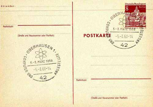 Postmark - West Berlin 1968 8pfg postal stationery card with special cancellation for Congress on Computers & Employees illustrated with Atomium