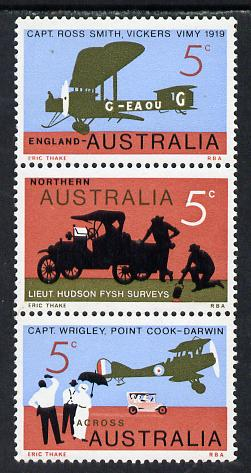 Australia 1969 Flight Anniversary se-tenant strip of 3 (ASC 372y) unmounted mint c A$16
