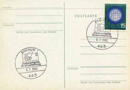 Postmark - West Berlin 1966 postcard with special cancellation for the Introduction of electronic Letter Sorting illustrated with stylised letter and Nuclear symbol