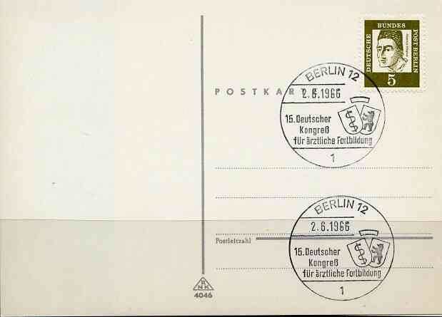 Postmark - West Berlin 1966 postcard with special cancellation for German Congress for Medical Further Education illustrated with Shields