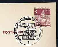 Postmark - West Berlin 1967 8pfg postal stationery card with special cancellation for Red Cross on Stamps Exhibition illustrated with Helicopter