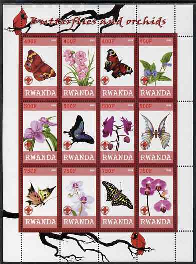 Rwanda 2009 Butterflies and Orchids imperf sheetlet containing 12 values unmounted mint