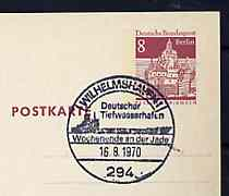 Postmark - West Berlin 1970 8pfg postal stationery card with special cancellation for 'Weekend on the Jade show' illustrated with silhouette of Oil Tanker