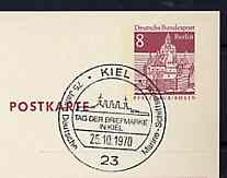 Postmark - West Berlin 1970 8pfg postal stationery card with special cancellation for 75 Years of German Naval Maritime Mail illustrated with the Bismarck