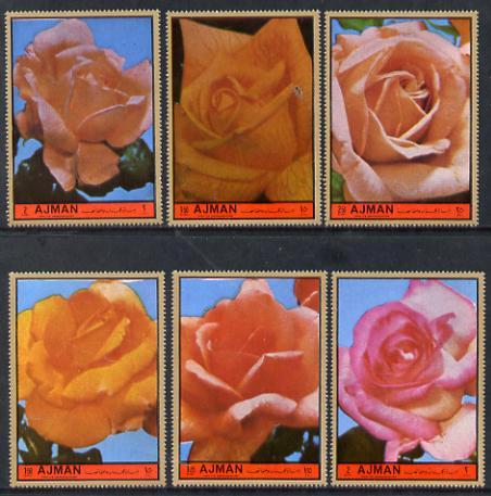 Ajman 1972 Roses #6 perf set of 6 unmounted mint, Mi 2083-88