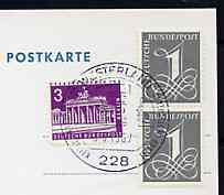 Postmark - West Berlin 1967 postcard with special cancellation for Europa Youth Meeting between Iceland & Germany illustrated with Viking Longboat with Europa 'E' sail