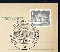 Postmark - West Berlin 1966 postcard with special cancellation for Hanaposta '66' Stamp Exhibition, illustrated with Arms of Germany, France & Netherlands with Europa Flag
