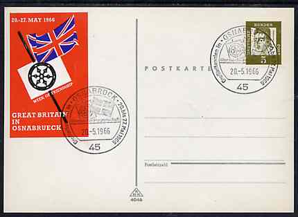 Postmark - West Germany 1966 postcard with special cancellation for Great Britain in Osnabrueck Week illustrated with Union Jack & Wagon Wheel also bearing the publicity 'sticker'
