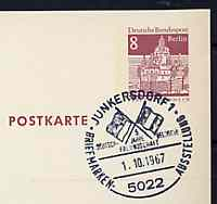 Postmark - West Berlin 1967 8pfg postal stationery card with special cancellation for Fifth Anniversary of German - Belgian Friendship illustrated with Crossed Flags