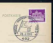 Postmark - West Berlin 1966 postcard with special cancellation for Stamp Exhibition for 10th Anniversary of Europa Stamps illustrated with Flag of Council of Europe