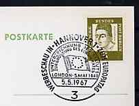 Postmark - West Berlin 1967 postcard with special cancellation for Stamp Publicity Exhibition fpromoting Europa Philately illustrated with Flag of Council of Europe