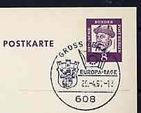 Postmark - West Berlin 1967 postcard with special cancellation for Gross Gerau Europa Days illustrated with Flag of Council of Europe & Arms of Gross Gerau