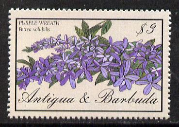 Antigua 1986 Purple Wreath $3 unmounted mint, SG 1034
