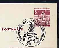 Postmark - West Berlin 1969 8pfg postal stationery card with special cancellation for Meeting of the St Gabriel Guild illustrated with Angel