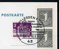 Postmark - West Germany 1967 postcard with special cancellation for 7th International Exchange Day illustrated with Golden Madonna from Essen Cathedral