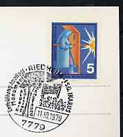 Postmark - West Germany 1970 postcard with special Riedheim cancellation for Apollo 11 Monument illustrated with US Flag