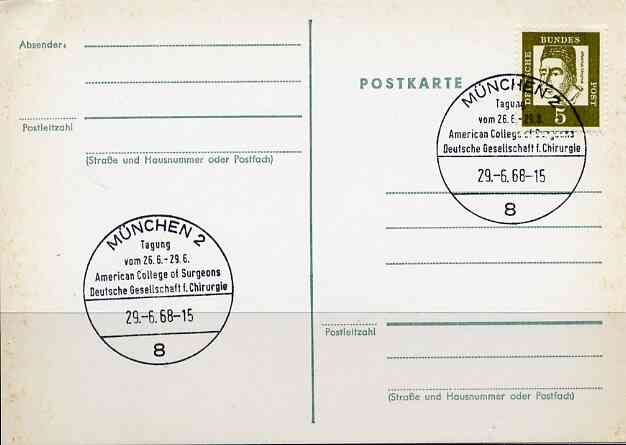 Postmark - West Germany 1968 postcard with special cancellation for Joint Congress of the American College of Surgeons &  the German Society of Surgeons