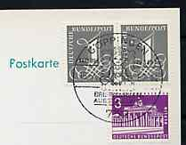 Postmark - West Berlin 1966 postcard with special cancellation for G�ppingen Youth Days Stamp Exhibition illustrated with small boy holding Stamp Album