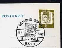 Postmark - West Berlin 1967 postcard with special cancellation for Third Interphil Exchange Day illustrated with stylised stamp & Interphil Badge