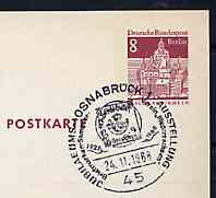 Postmark - West Berlin 1968 8pfg postal stationery card with special cancellation for Osnabr�ck Stamp Exhibition illustrated with 1860 1/2 groschen stamp of Hanover