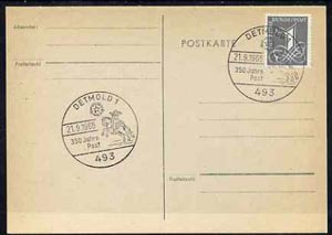 Postmark - West Germany 1966 postcard with special cancellation for 350 Years of Post in Detmold illustrated with Mounted Postal Courier