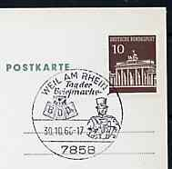 Postmark - West Germany 1966 postcard with special cancellation for Weil am Rhein Stamp Day illustrated with Postillion