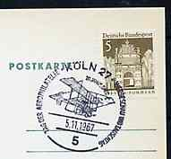 Postmark - West Germany 1967 postcard with special cancellation for Cologne Aerophilately Day & Stamp Exhibition illustrated with Box kite Bi-plane of 1910