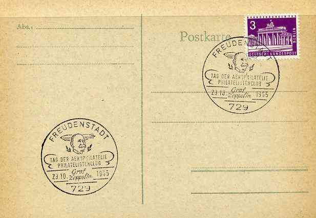 Postmark - West Berlin 1967 postcard with special Freudenstadt cancellation for Graf Zeppelin Philatelists' Club illustrated with head of Zeppelin & Airship