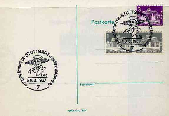 Postmark - West Berlin 1967 postcard with special Stuttgart cancellation for 50th Anniversary of Death of Count Ferd von Zeppelin illustrated with head of Zeppelin & Airship