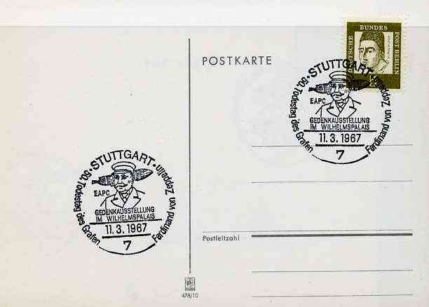 Postmark - West Berlin 1967 postcard with special Stuttgart cancellation for 50th Anniversary of Death of Count Ferd von Zeppelin Exhibition illustrated with head of Zeppelin & Airship