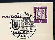 Postmark - West Berlin 1967 8pfg postal stationery card with special cancellation for 350 Years of the Post in Winningen illustrated with Mailcoach & Towns Arms