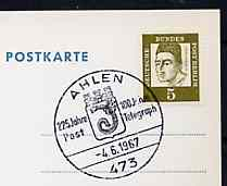 Postmark - West Berlin 1967 postcard with special cancellation for 225 Years of the Post in Ahlen illustrated with Towns Arms