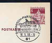 Postmark - West Berlin 1968 8pfg postal stationery card with special cancellation for Congress of Bavarian Philatelic Associations illustrated with Mailcoach