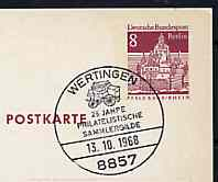 Postmark - West Berlin 1968 8pfg postal stationery card with special Wertingen cancellation for 25th Anniversary of Philatelic Collectors' Guild illustrated with Mailcoach
