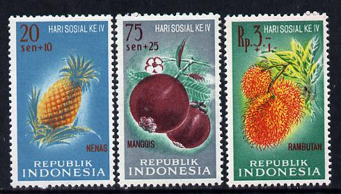 Indonesia 1961 Charity Fruits set of 3 unmounted mint,  SG 890-92*