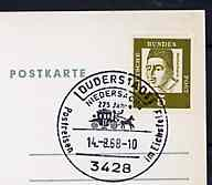 Postmark - West Germany 1968 postcard with special cancellation for 275 Years of the Post in Duderstadt illustrated with Mailcoach