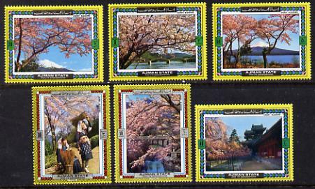 Ajman 1972 ? Cherry Blossom perf set of 6 unmounted mint*