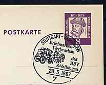 Postmark - West Berlin 1967 8pfg postal stationery card with special Stuttgart cancellation for Stamp Publicity Show illustrated with Mail coach