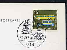 Postmark - West Germany 1967 postcard with special Bensheim cancellation for 14th Exchange Day illustrated with Bust of early Postman & Badge of Federation of German Philatelists