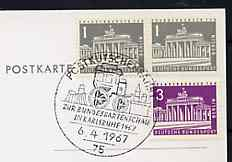 Postmark - West Germany 1967 postcard with special Karlsruhe cancellation for Travelling Mail Coach illustrated with Mail coach