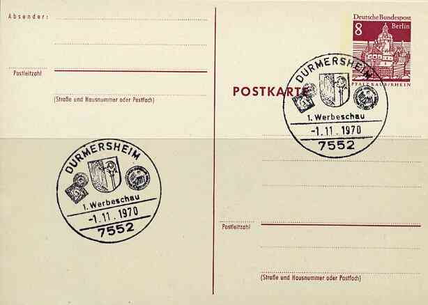 Postmark - West Berlin 1970 8pfg postal stationery card with special Durmersheim cancellation Stamp & Coin Show illustrated with Town's Arms, Baden 3kr stamp & Olympic Coin