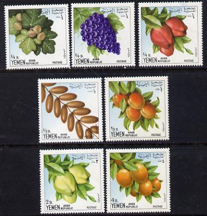 Yemen - Republic 1967 Fruits 'Postage' set of 7 vals unmounted mint Mi 551-57
