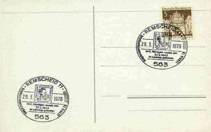 Postmark - West Berlin 1970 postcard with special Remscheid cancellation for Stamp Exhibition & 125th Anniversary of Birth of R\9Antgen illustrated with stamp bearing R\9Antgen's Portrait, stamps on stamp exhibitions, stamps on x-rays, stamps on stamp on stamp, stamps on nobel, stamps on science, stamps on physics, stamps on atomics, stamps on personalities, stamps on stamponstamp