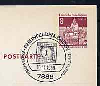 Postmark - West Berlin 1968 8pfg postal stationery card with special Rheinfelden cancellation for Stamp Exhibition illustrated with Baden 1kr stamp