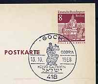 Postmark - West Berlin 1968 8pfg postal stationery card with special Goch cancellation for Gobria Stamp Exhibition illustrated with King Solomon