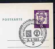 Postmark - West Berlin 1968 postcard with special Hamburg cancellation for Youth Stamp Exhibition illustrated with Reproductions of Rumania & Hamburg